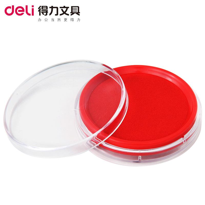 DELI Đồ dùng tài vụ Miếng dán tem 9863 màu đỏ xanh mực khô nhanh mực không thấm nước tròn văn phòng