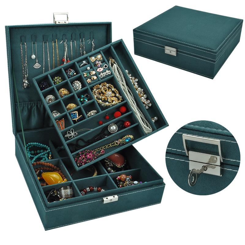 Guanya Hộp trang sức flannel vuông lớn hai lớp hộp trang sức retro hộp trang sức bán buôn hộp trang