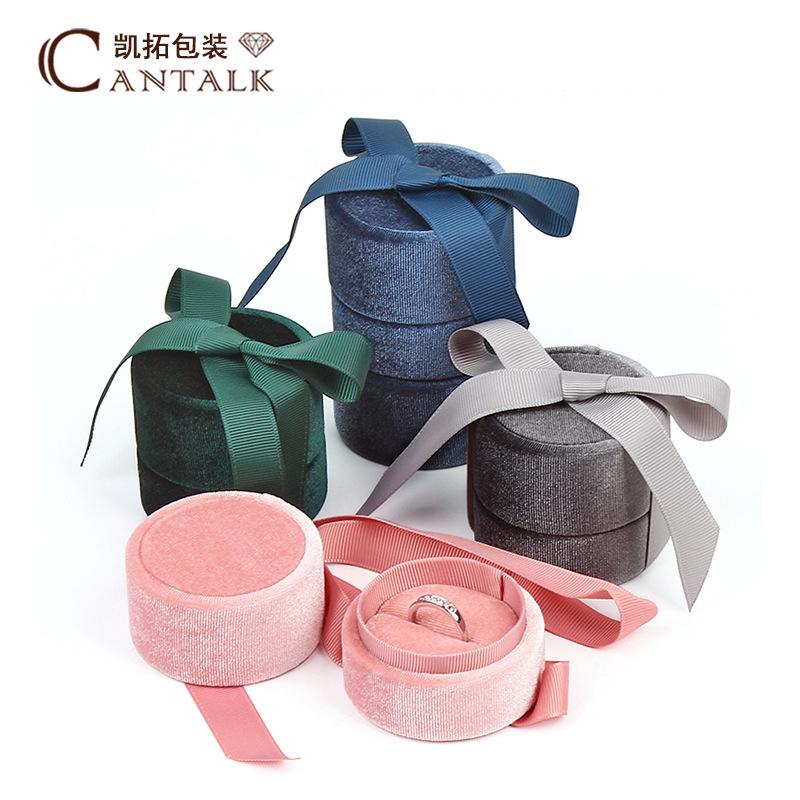 KAITUO Hộp quà tặng Hình trụ nhung trang sức hộp trang sức lưu trữ hộp bông tai vòng mặt dây chuyền