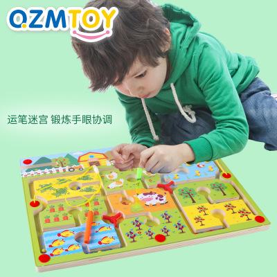 QZM Đồ chơi luyện trí thông minh Qiaozhi Gỗ từ lớn Bút mê cung Bóng lăn Đồ chơi giáo dục Giao thông