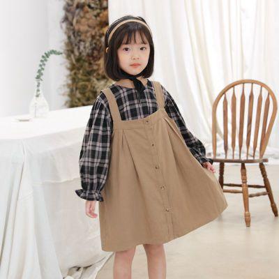 Áo Sơ-mi trẻ em Mùa xuân 2020 áo sơ mi trẻ em mới cô gái thời trang treo váy trẻ em áo sơ mi hai mản