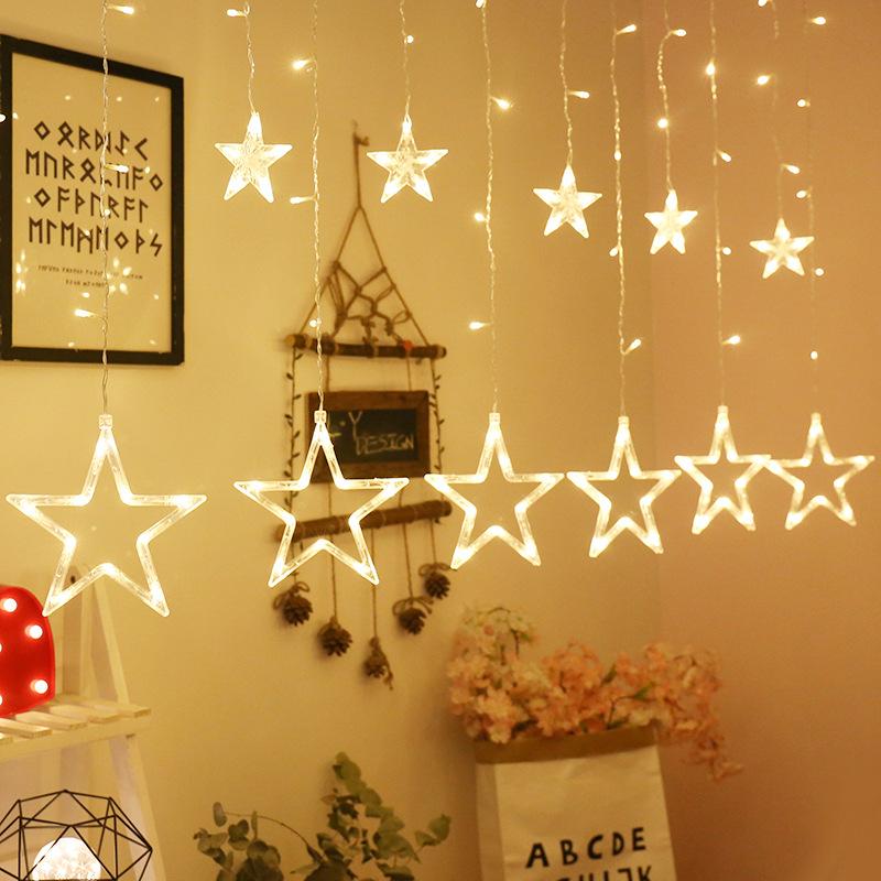 AIFANNI Đèn trang trì đèn led ngôi sao đèn rèm chuỗi ánh sáng đầy sao năm cánh sao đèn phòng ngủ đèn