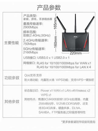 Asus Modom  Wifi  / ASUS RT-AC86U không dây băng tần kép AC2900M Gigabit bộ định tuyến tường nhà tốc