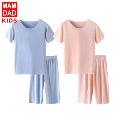 KIDS MAM&DAD Đồ ngủ trẻ em Quần áo bé trai mùa hè quần áo trẻ em modal tay ngắn phù hợp với mùa hè Á