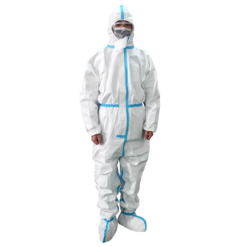 SHUNKANG Trang phục bảo hộ Quần áo trùm đầu một mảnh cách ly quần áo cao su thời gian hạn chế quần á