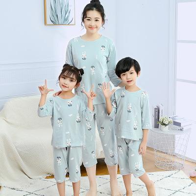 XUEHAXIONG Áo thun gia đình Xuehaxiong cotton cha mẹ bảy phần tư tay áo dịch vụ nhà phù hợp với cha
