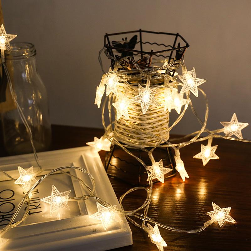 Đèn trang trì Sáng tạo sao đèn dây đồng nhựa năm cánh sao đèn led hộp pin hộp đèn trang trí đám cưới