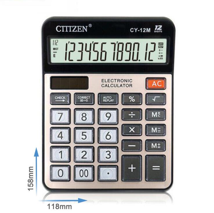 GTTTZEN Đồ dùng tài vụ Máy tính GTTTZEN CY-12M công suất kép 12 bit tài chính văn phòng nhỏ cung cấp
