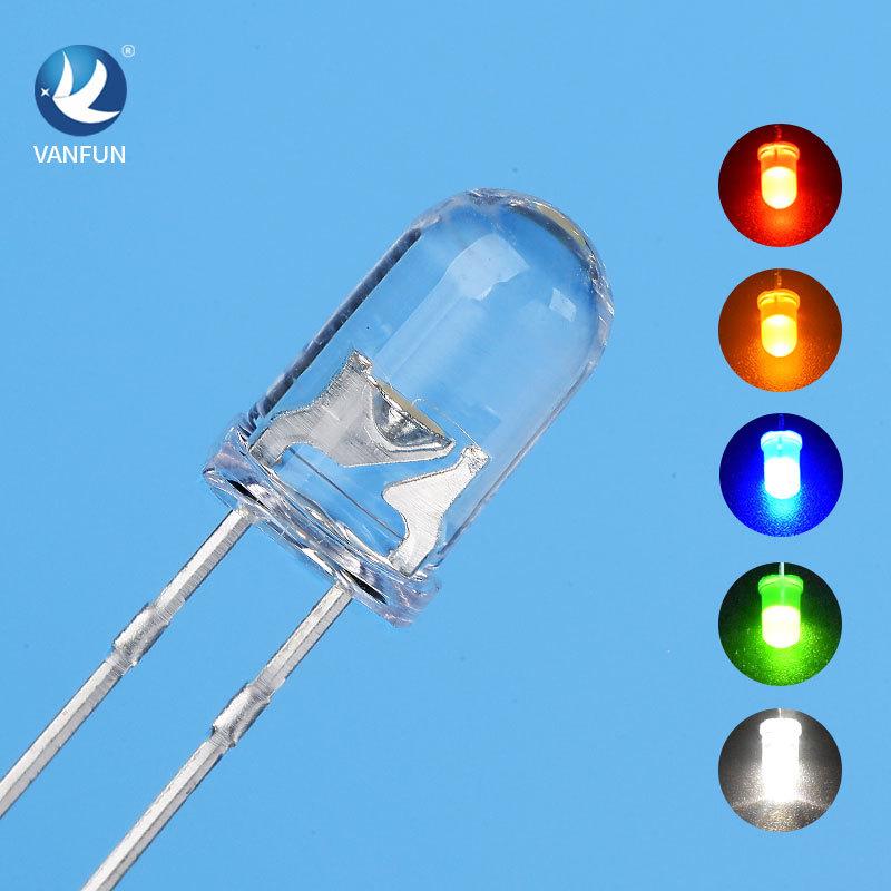 CHUANGWANFENG Đèn tín hiệu Ánh sáng phát ra diode 5mm f5 đầu tròn ánh sáng trắng chân ngắn cắm thẳng