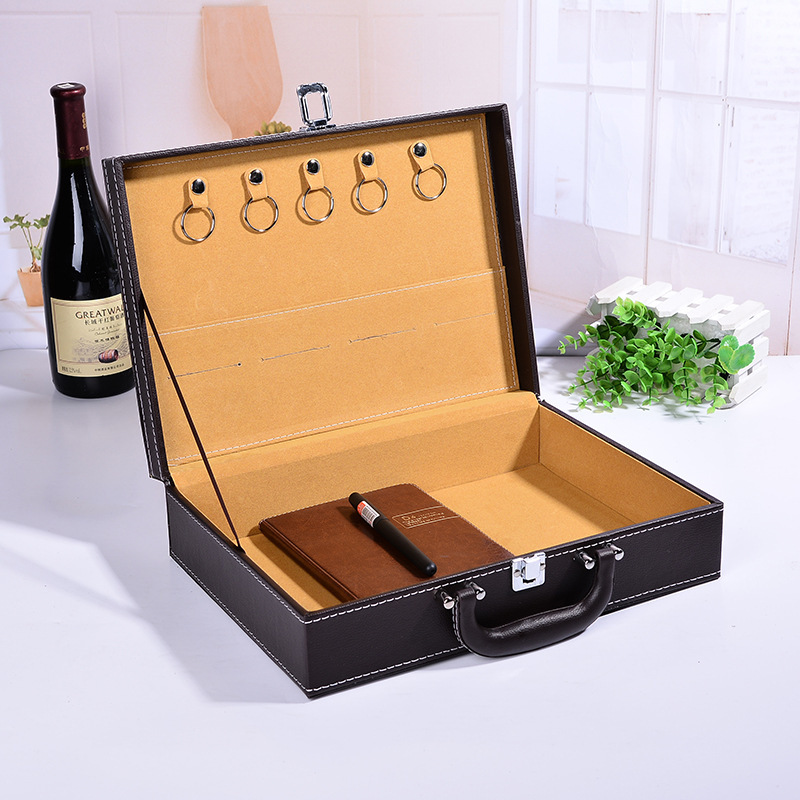 ZHONGYI Hộp da Hộp giao hàng bất động sản cao cấp Hộp lưu trữ khóa tài sản Hộp công cụ thông tin Hộp