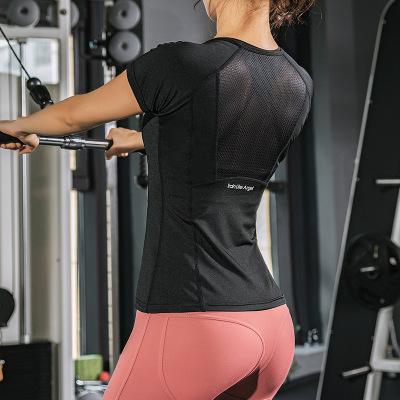 SHUBEINA Áo thun mau khô Mùa hè mới thể thao Áo thun nữ co giãn nhanh tay ngắn Slim là áo sơ mi yoga