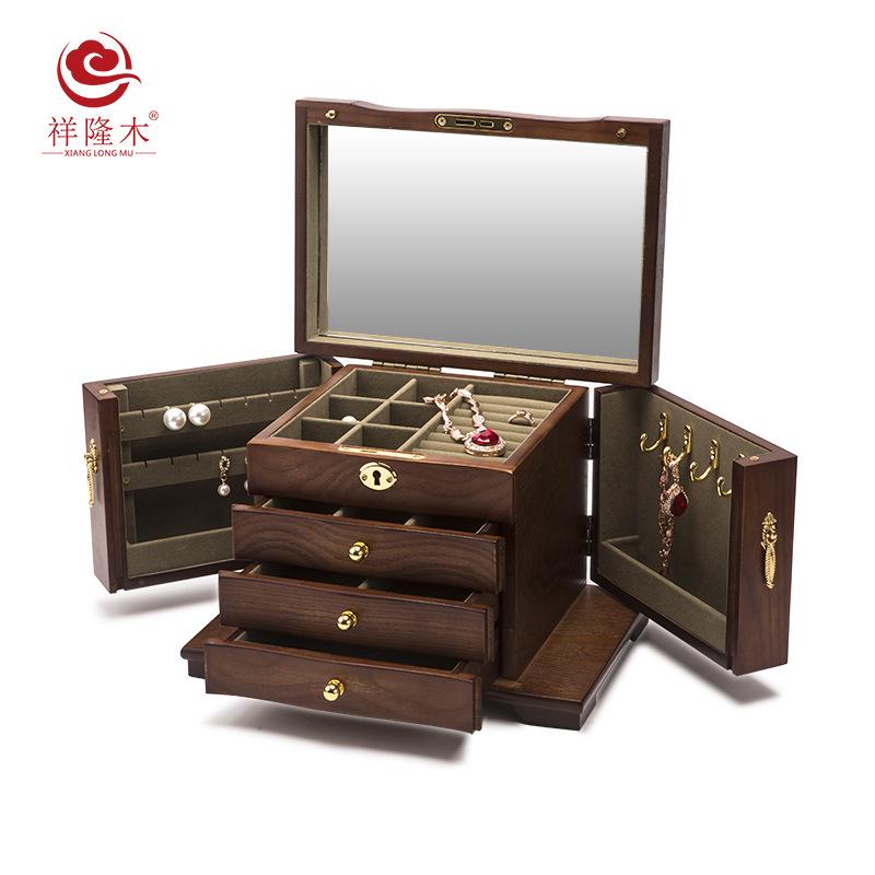 XIANGLONGMU Hộp trang sức Hộp đựng đồ trang sức bằng gỗ nguyên khối có khóa công suất lớn bằng gỗ cô