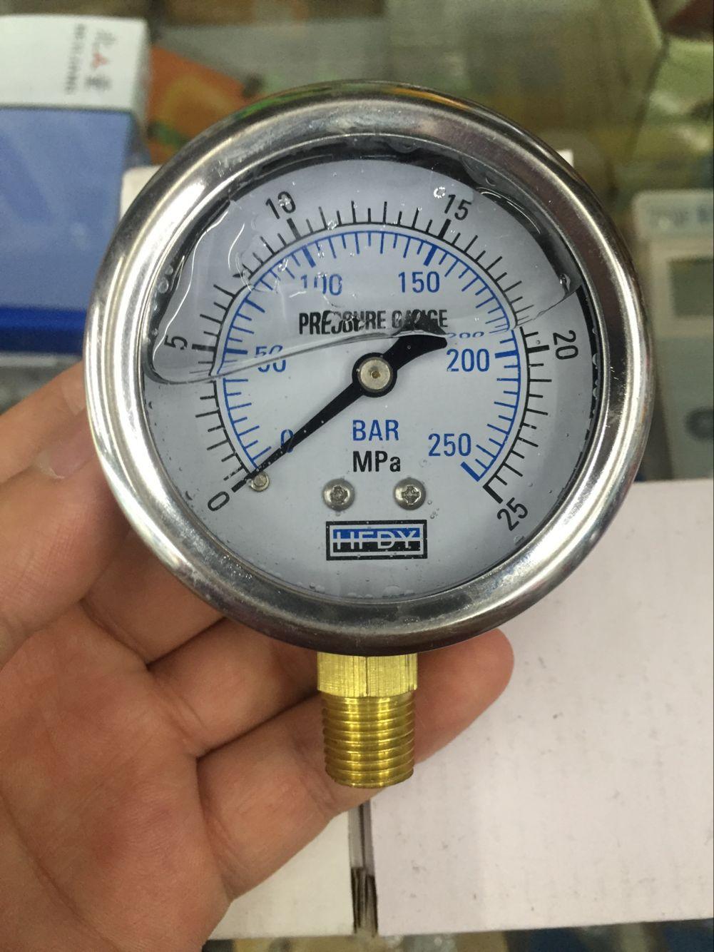 HFDY Đồng hồ đo áp suất chống sốc HFDY YN60 250ebar 25MPA quay số 60MM 1/4 inch