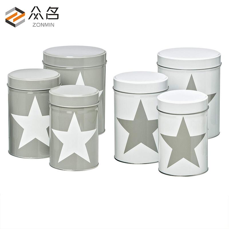 Hũ kim loại Hộp đựng trà tròn tùy chỉnh lon trà Bao bì đóng hộp hộp thiếc Hộp kín thùng tròn