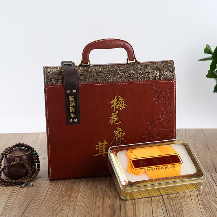 HANLONG Hộp da Deer bao bì hộp bao bì cao cấp lát quà tặng hộp da cầm tay hộp quà tặng đặc sản Đông