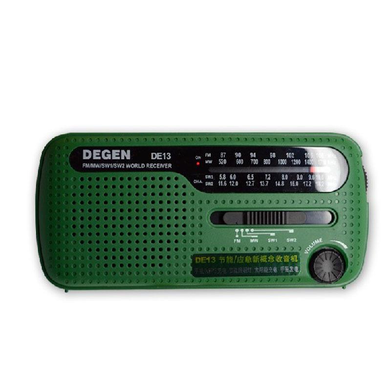Degen Máy Radio DE13 năng lượng mặt trời quay tay thân thiện với môi trường