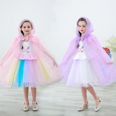Áo choàng trẻ em Halloween Cape Children Khăn choàng Trang phục Cô gái Frozen Aisha Công chúa Shawl