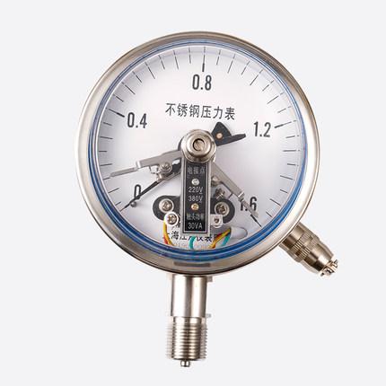 KOLEENO Đồng hồ đo áp suất tiếp xúc điện Thượng Hải Jiangyue YXC100BF bằng thép không gỉ 0-1-1.6-2.5