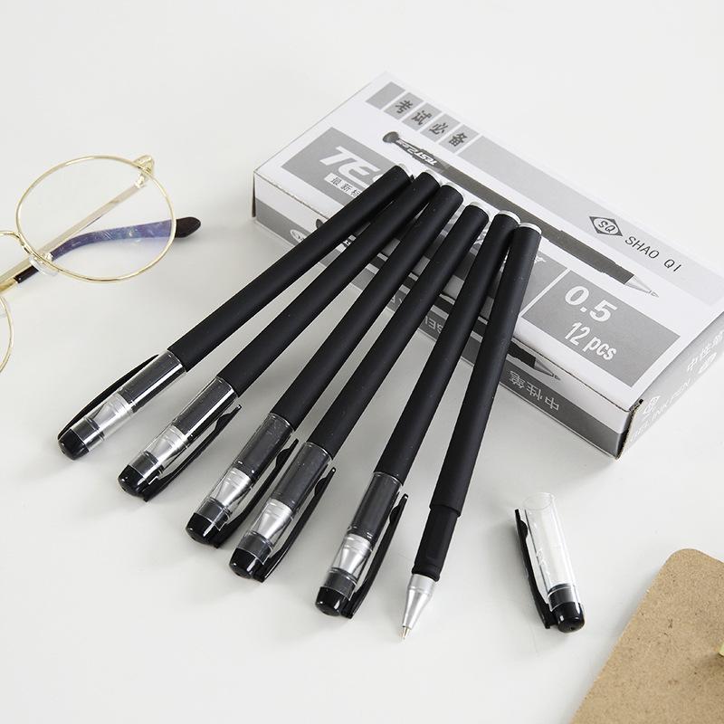SHAOQI Bút nước Hộp 380 bút gel màu đen bút carbon văn phòng phẩm bán buôn đạn 0,5 sinh viên viết bú
