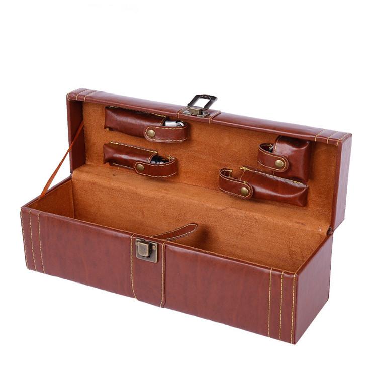 GAICHI Hộp da Gỗ giả hạt rượu hộp quà tặng hộp rượu vang đỏ hộp bao bì hộp da hộp rượu vang đỏ hộp d