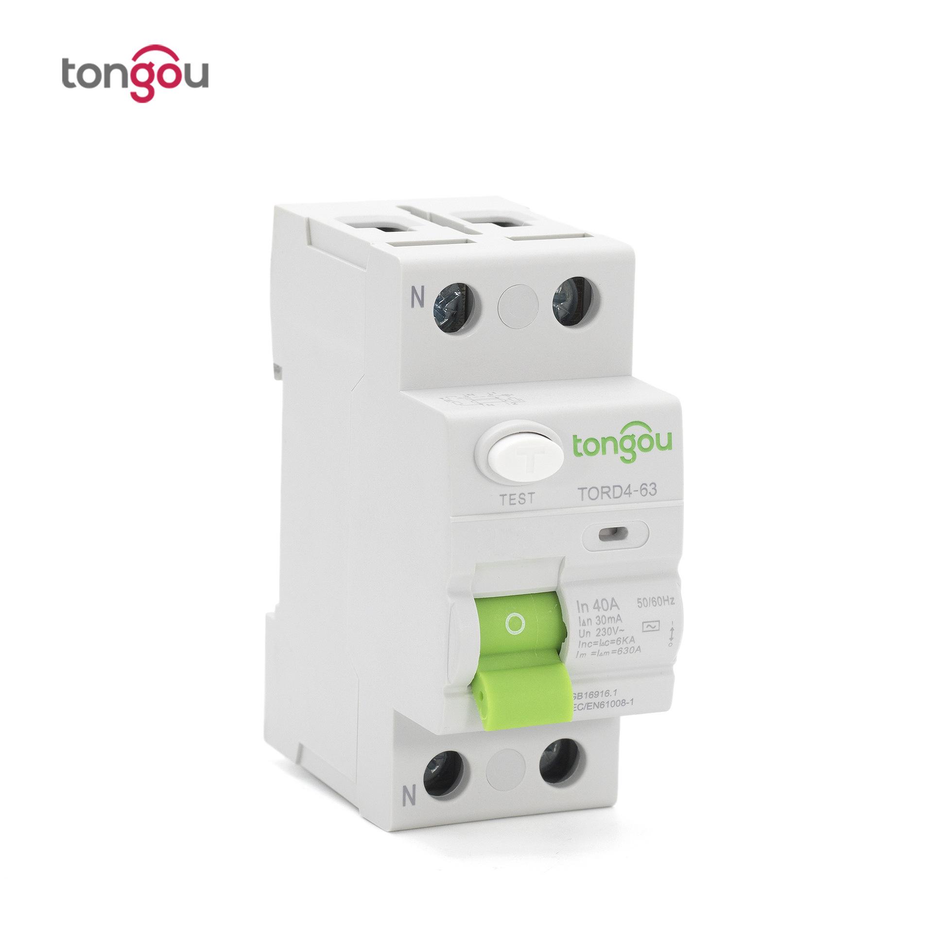 Bộ ngắt mạch bảo vệ rò rỉ 2P 63A 30mA trực tiếp TORD4