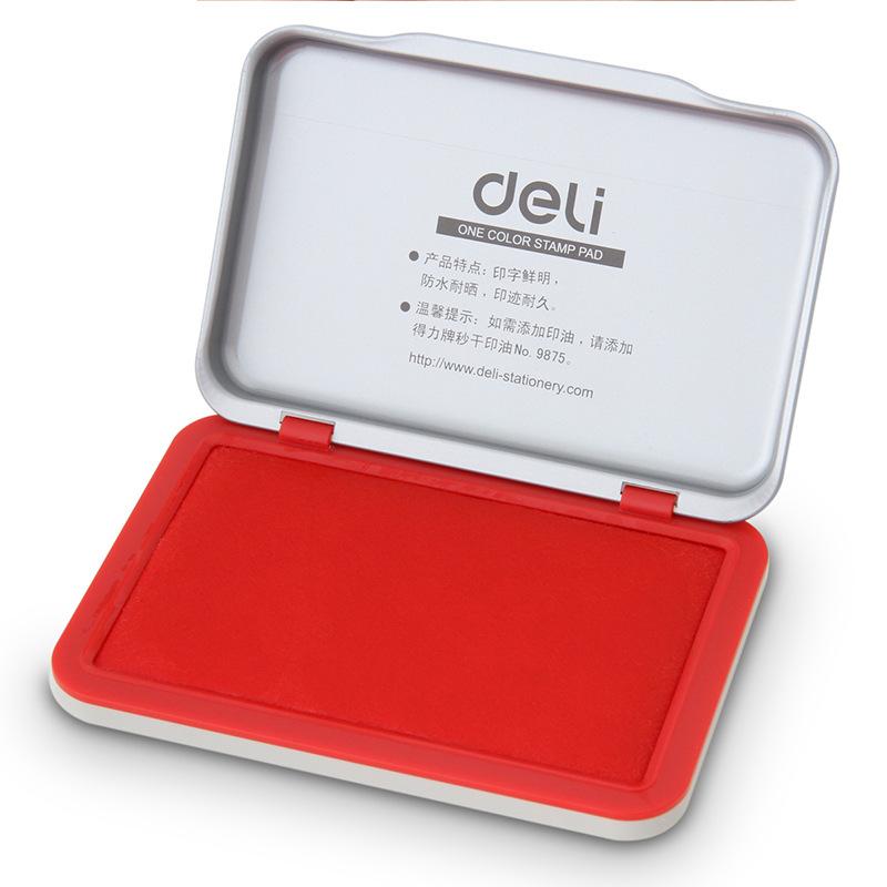 DELI Đồ dùng tài vụ 9891 Red Stamp Pad Ink Pad Oil Không làm bẩn kim loại Shell Office Nguồn cung cấ