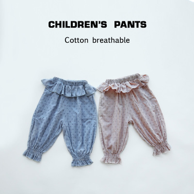KANKANXIONG Quần trẻ em Mùa xuân và mùa hè mới 2020 Lá sen eo sóng chấm đậm cotton in quần trẻ em gi