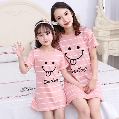 XIFUWA Áo thun gia đình Mùa hè bé gái cotton váy ngủ trẻ em đồ ngủ mỏng tay ngắn bé gái công chúa cô
