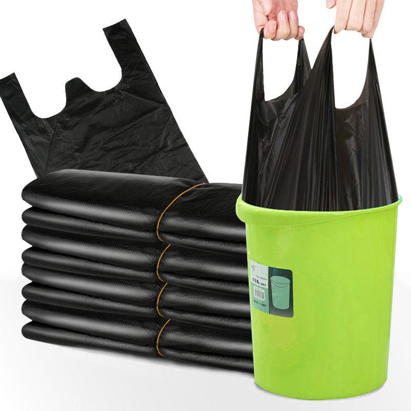 Xiqi Túi xốp 2 quai 50 thế hệ đen dày vest vest túi rác dùng một lần túi rác xách tay