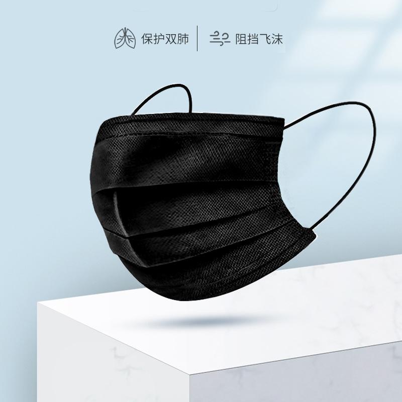 Khẩu trang y tế màu đen chống khói bụi cho người lớn .