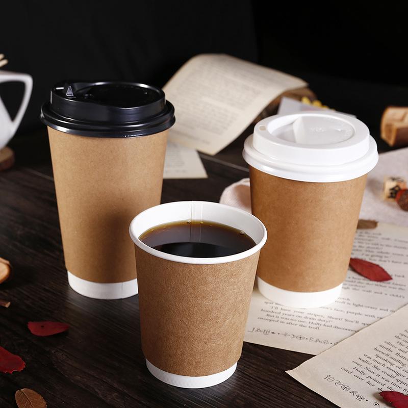 Ly giấy Bai Yi Spot Cốc giấy Takeaway dùng một lần Tùy chỉnh hai lớp cách ly Trà sữa Cà phê Cốc giấy