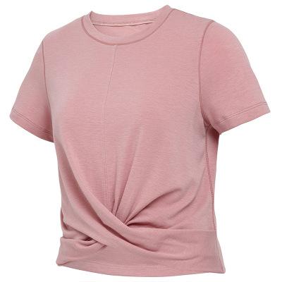 Áo thun mau khô Mùa xuân và mùa hè quần áo yoga phụ nữ áo thun ngắn tay lộ ra rốn quần áo thể dục ng