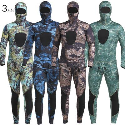 MYLEDI Áo nguỵ trang lính SCR cao su wetsuit 3MM ngụy trang wetsuit lạnh và ấm chia hai mảnh wetsuit