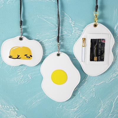 YUELU Ví đựng thẻ Lòng đỏ trứng sáng tạo Hàn Quốc với chủ sở hữu thẻ dây trứng trứng đồng xu ví chủ