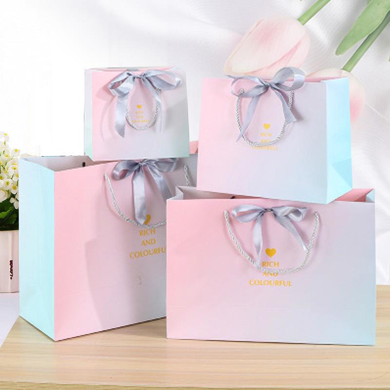 HANGXUAN Túi giấy đựng quà Sản phẩm mới in phong cách bao bì Túi quà tặng Gradient túi quần áo cửa h