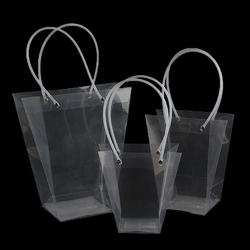 TINGZHAN Túi giấy đựng quà Túi hoa hình thang trong suốt Túi tote Túi chống nước PP Túi quà tặng PVC