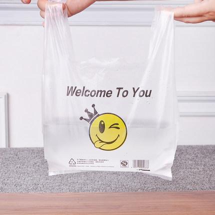Túi xốp 2 quai  Túi vest trong suốt mặt cười tiện lợi túi dày thực phẩm bao bì takeaway túi nhựa cầm