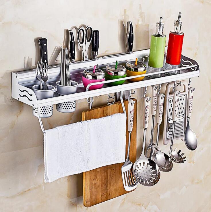 Dụng cụ nhà bếp không lỗ giá đỡ không gian nhôm giữ dao nhôm sideband lan can đa chức năng lưu trữ g