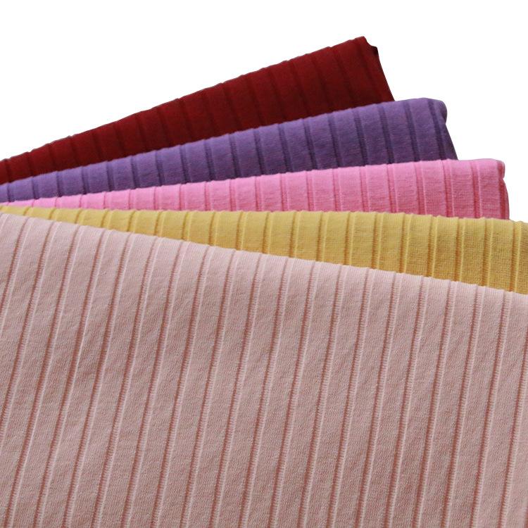 JIAYING Vải Rib bo Nhà máy trực tiếp bán vải sườn vải mới thể thao váy lanh cotton pit sọc dệt kim v