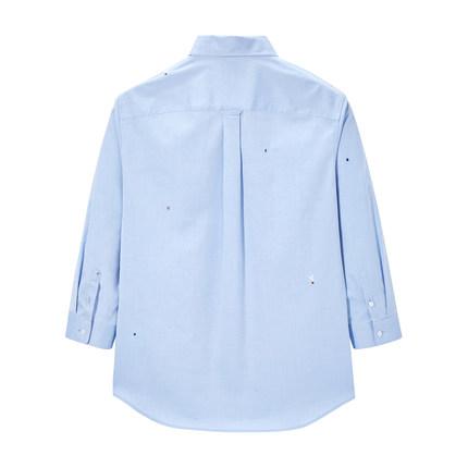 Áo Sơmi  Áo sơ mi nam tay dài màu xanh yên bình 2020 mùa hè mới Hàn Quốc áo sơ mi thêu cotton giản d