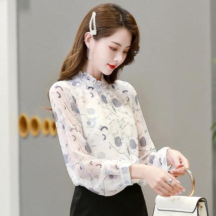 Áo sơ mi Áo voan hoa nữ 2020 mùa xuân mới Hàn Quốc hoang dã áo sơ mi dài tay đứng cổ áo sành điệu mù