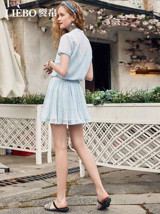 LIEBO Váy voan lụa nữ 2020 mùa hè mới đại học kiểu váy xếp li nhỏ màu xanh tươi váy ngắn