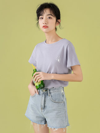 áo thun  Áo thun cotton tay ngắn công chúa cotton mùa hè 2020 mới lưới siêu đỏ phiên bản Hàn Quốc củ