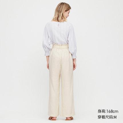 Quần Casual  Quần linen nữ pha trộn quần ống rộng (có thắt lưng) (Quần bố) 424932 UNIQLO