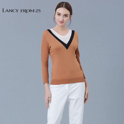 LANCY FROM 25 Thời trang nữ LANCY Langzi truy cập chính hãng thời trang nữ mùa hè màu sắc áo thun dệ