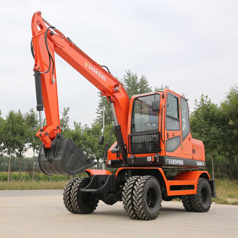 SHANDING Máy đào đất Nhà máy Tân Cương bán trực tiếp máy xúc bánh xe nhỏ 80 máy xúc bánh cao su giá