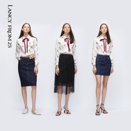 LANCY FROM Thời trang nữ 25 Áo sơ mi Langzi 2020 xuân hè mới phong cách Hàn Quốc thắt nơ cưỡi ngựa i