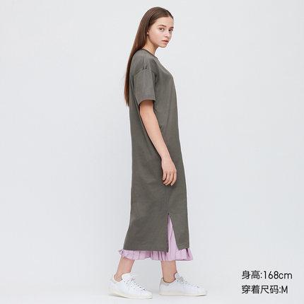 UNIQLO Váy Áo thun cotton nữ dài tay (áo ngắn tay) 422515 Uniqlo UNIQLO