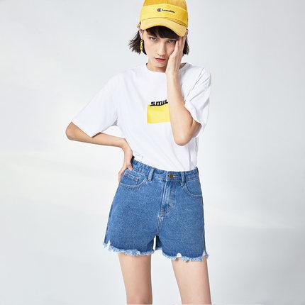 Goldfarm Thời trang nữ Gao Fan 2019 hè mới Hàn Quốc giản dị sang trọng lông cừu nóng quần lỏng lẻo m