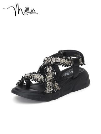 Millie's giày bánh mì / giày Platform / Miao Li 20 Xia Xiaoxiang Feng rhinestone giày thường đế dày